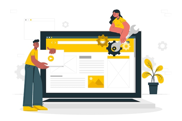 Illustrazione di concetto di configurazione del sito web Vettore gratuito