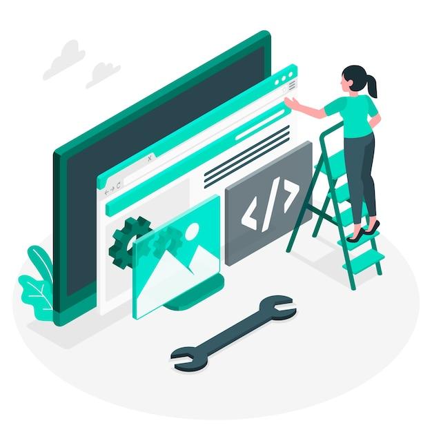 Concetto dell'illustrazione di installazione del sito web Vettore gratuito