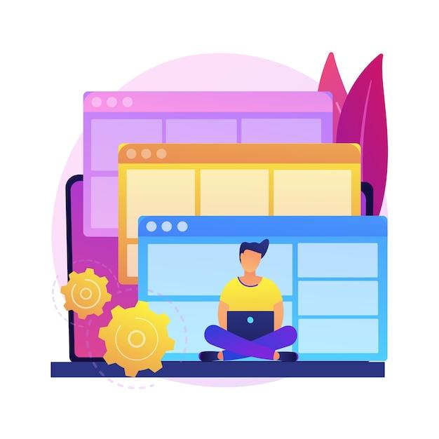 ウェブサイトテンプレートの抽象的な概念図。ランディングページのhtmlテンプレート、ウェブサイト構築サービス、商用および個人使用、ウェブコンストラクタープラットフォーム、デザインテーマ。 無料ベクター