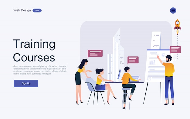 Website template concept for online education, training and courses. Premium Vector