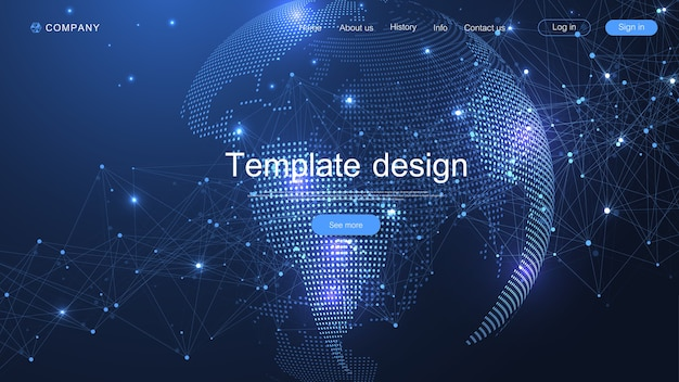 Дизайн шаблона сайта. asbtract фон с точкой карты мира и концепцией состава линий глобального бизнеса. интернет-технологии. современный лендинг для сайтов. Premium векторы