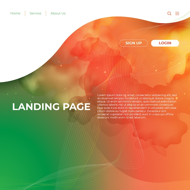 Website template design and landing page line Premium Vector