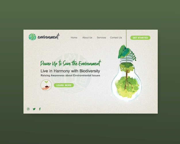 Website template design for world environment day.save earth planet world concept  watercolor vector Free Vector
