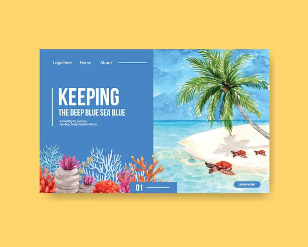 Website template design for world oceans day concept with turtle and coral watercolor vector Free Vector