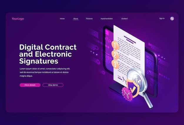 Website template. digital contract and electronic signature isometric landing page, e-signature on document at pc screen with fingerprint, shield and magnifier Free Vector