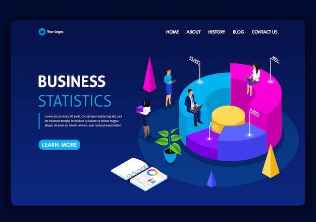 ウェブサイトテンプレート。等尺性概念の仕事パフォーマンス、分析のためのコンサルティング会社。統計とビジネスステートメント。編集とカスタマイズが簡単 Premiumベクター