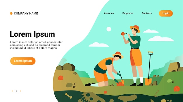 Website template, landing page with illustration of archaeologist discovering dinosaurs remains Free Vector