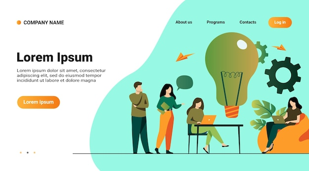 Website template, landing page with illustration of business team meeting in office or co-working space. colleagues sitting at desk, working with computer, discussing ideas for project together Free Vector