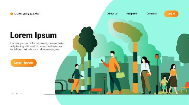 Website template, landing page with illustration of citizens wearing face masks for protection from smog and dusty air Free Vector