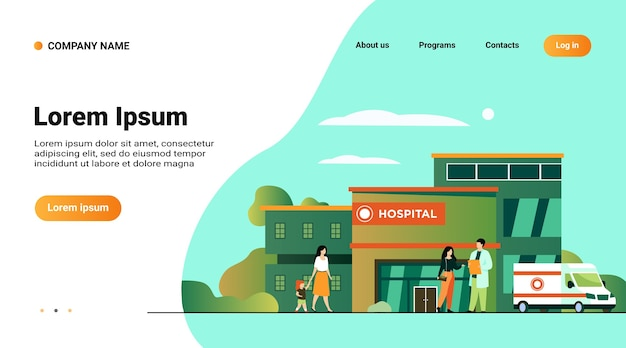 Website template, landing page with illustration of city hospital building Free Vector