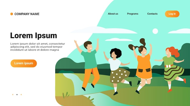Website template, landing page with illustration of diversity and childhood concept Free Vector