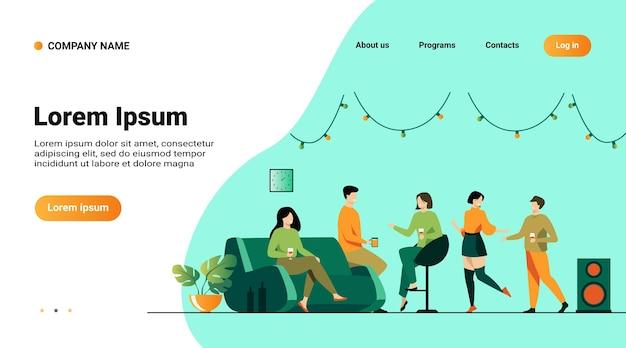 Modello di sito web, pagina di destinazione con illustrazione di happy friends at home party isolated flat vector illustration Vettore gratuito