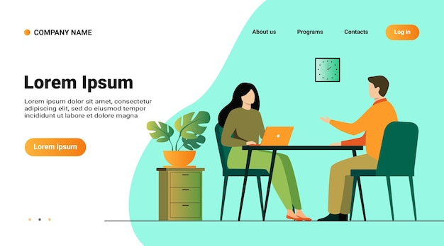 Website template, landing page with illustration of job interview conversation. hr manager and employee candidate meeting and talking Free Vector