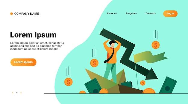 Шаблон веб-сайта, целевая страница с иллюстрацией мультяшного человека, держащего стрелку, падающую вниз, изолированные плоские векторные иллюстрации Бесплатные векторы