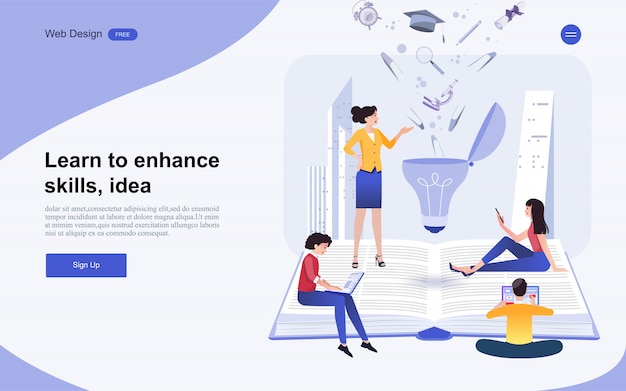 Website template online education, training and courses. Premium Vector