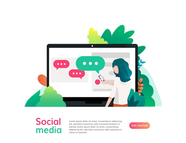 Website Template Of Social Media Flat Design Vector Illustration For Graphic And Web Design Premium Vector