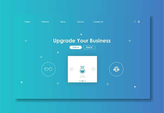 Website template with blue background Premium Vector