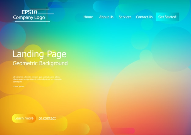Website template with colorful  geometric shape background Premium Vector