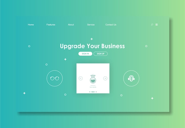 Website template with green background Premium Vector