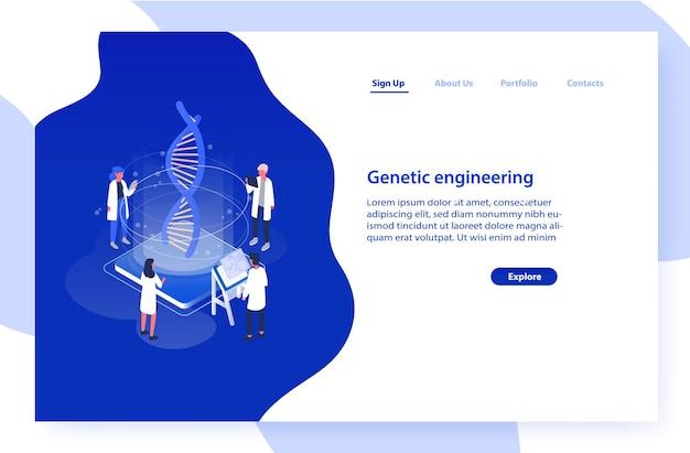 Dna 분자를 분석하는 과학자 또는 연구원 그룹이있는 웹 사이트 템플릿. 프리미엄 벡터