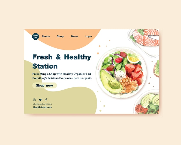 Website template with healthy and organic food design Free Vector