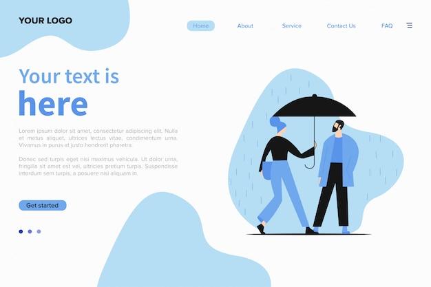 Шаблон сайта с иллюстрацией молодая пара, прогулки под дождем. Бесплатные векторы