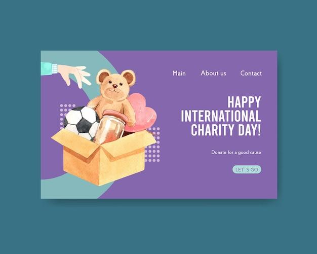 Modello di sito web con concept design della giornata internazionale della carità per comunità online e acquerello di internet. Vettore gratuito