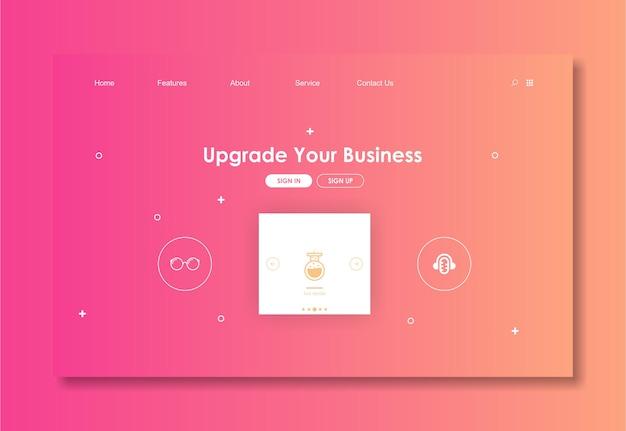 Шаблон сайта с розовым фоном Premium векторы