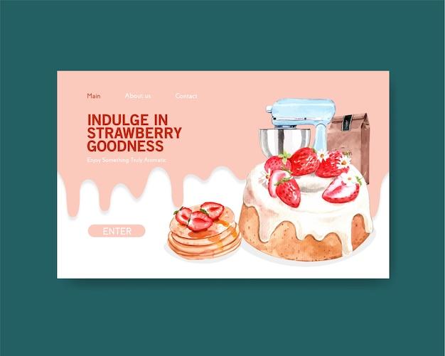 Шаблон сайта с дизайном клубничной выпечки для интернета, интернет-сообщества и рекламы акварельной иллюстрации Бесплатные векторы