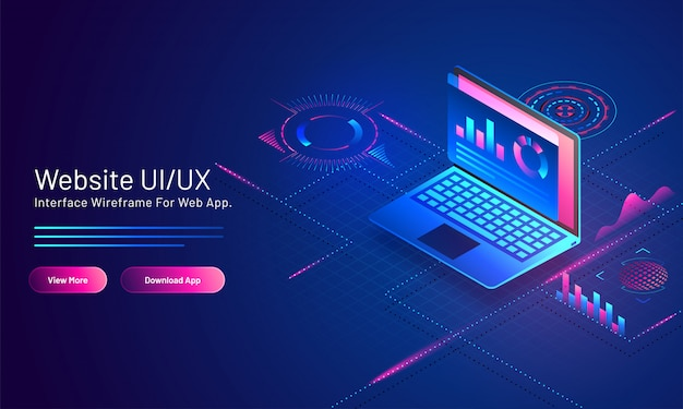 Website ui/ux  based isometric landing page  with analysis data in laptop on blue digital . Premium Vector