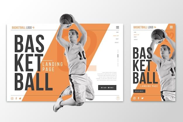 バスケットボールのwebtemplateランディングページ 無料ベクター