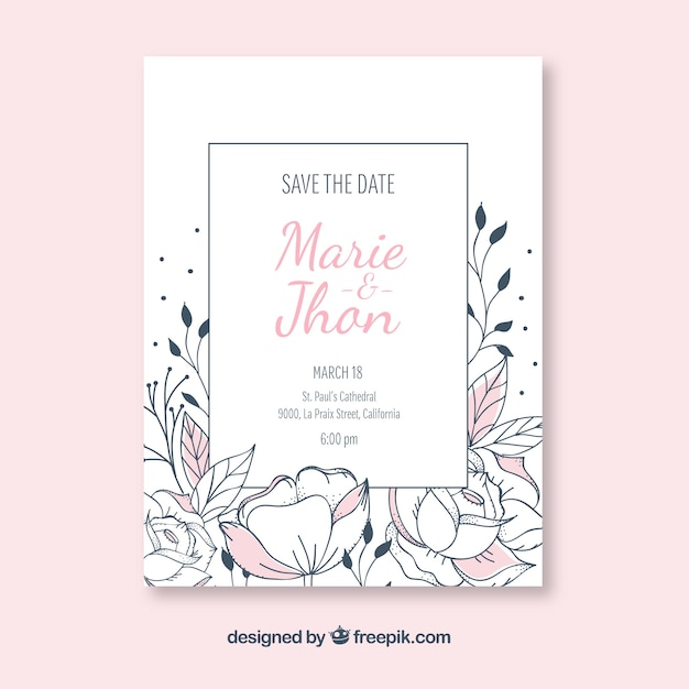 Weddin invitation with hand drawn flowers Free Vector