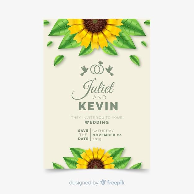 Weddind招待状カードのテンプレート 無料ベクター