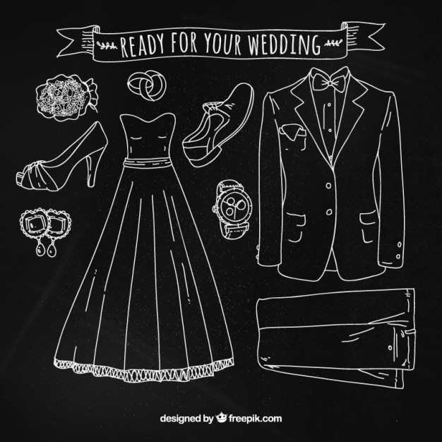 Wedding accessories set with chalk Free Vector