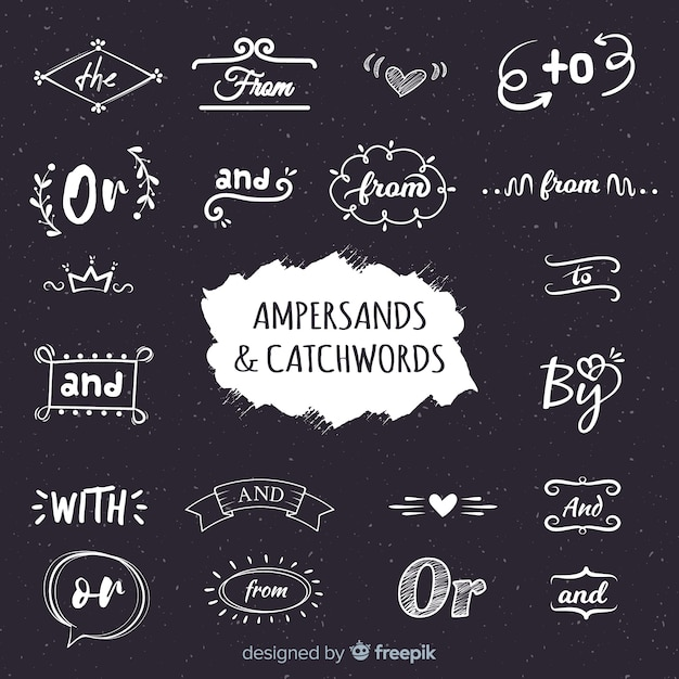 Wedding ampersands and catchwords lettering Free Vector