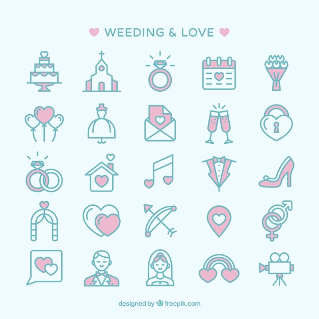 Wedding and love icons Free Vector
