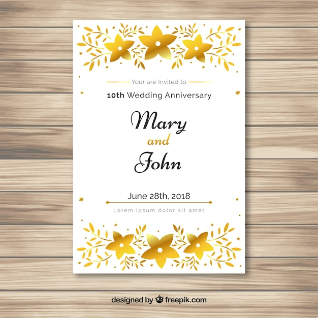 wedding anniversary card in golden style vector  free