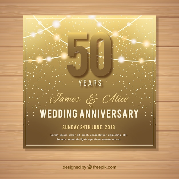 Wedding anniversary card in golden style Free Vector