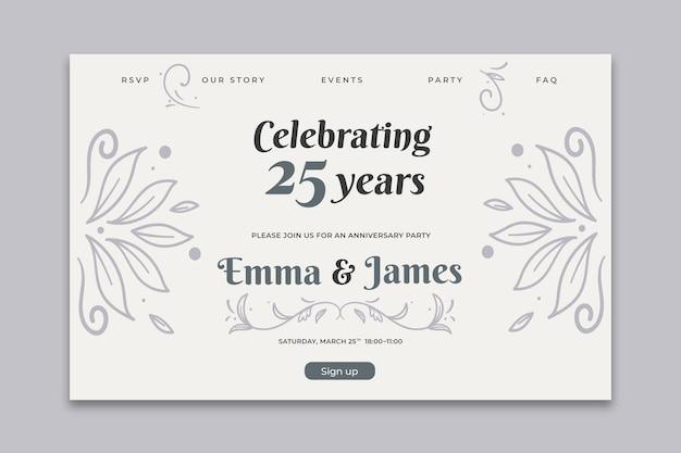 結婚記念日カードテンプレート 無料ベクター
