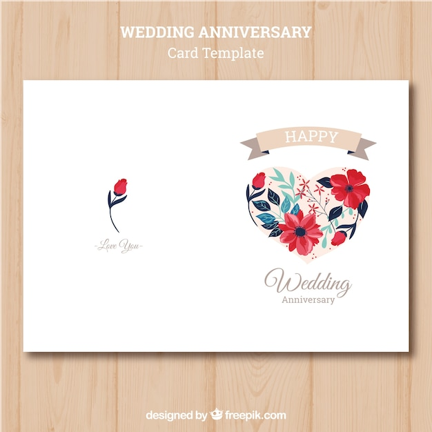 wedding anniversary card with colorful flowers vector free download