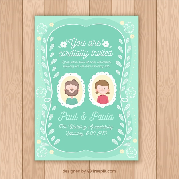 free vector  wedding anniversary card with couple