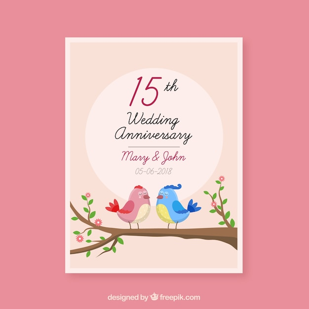 wedding anniversary card with cute birds couple vector free download