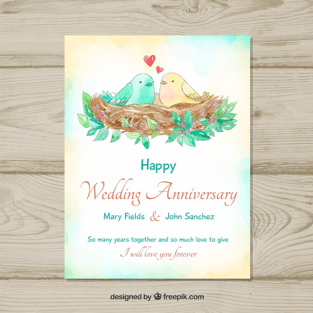 Wedding Anniversary Card With Cute Birds Vector Free Download