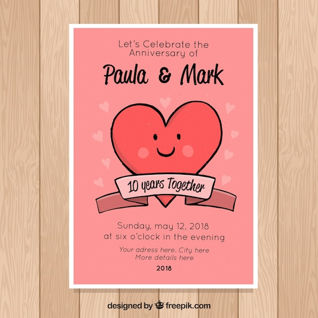 Wedding anniversary card with cute heart vector free download wedding anniversary card with cute heart free vector m4hsunfo