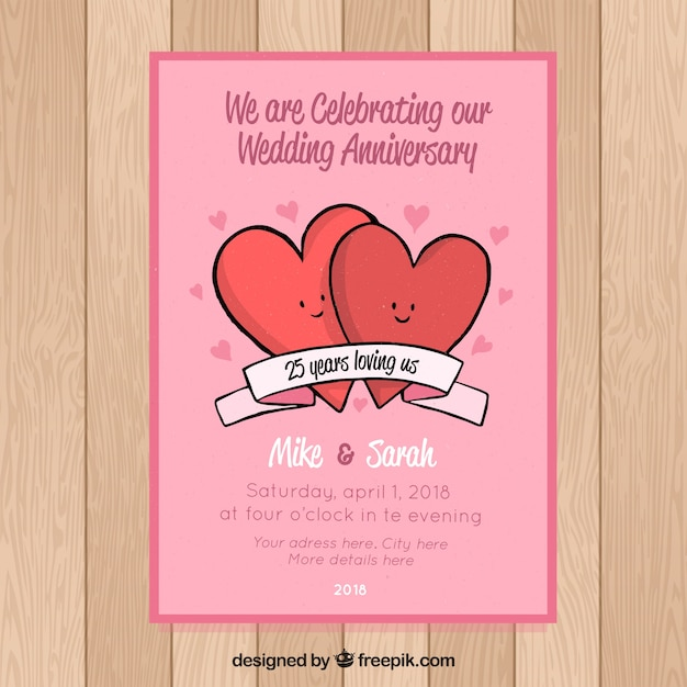wedding anniversary card with cute hearts vector free download