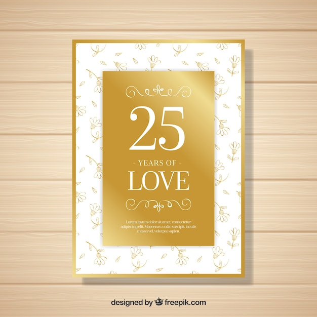 wedding anniversary card with flowers in golden style vector free