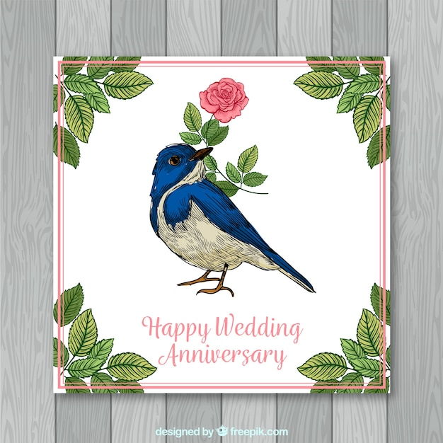 Wedding Anniversary Card With Flowers In Hand Drawn Style Vector