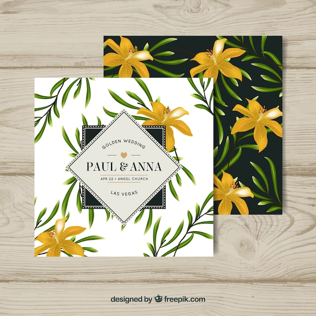 Wedding anniversary card with flowers in realistic style Free Vector
