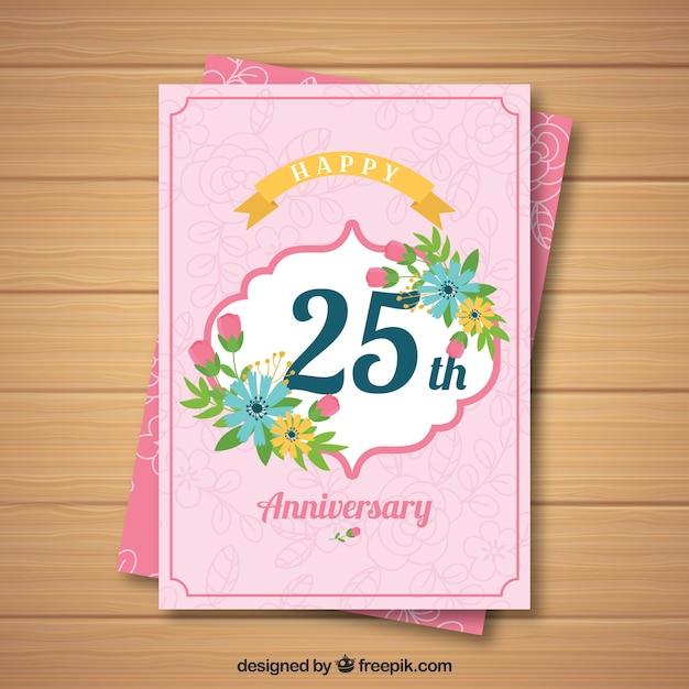 wedding anniversary card with flowers vector  free download