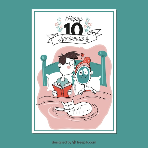 Wedding anniversary card with funny couple Vector | Free Download